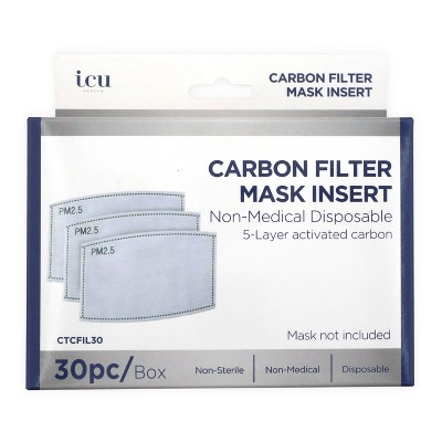 ICU Health Carbon Filter Face Mask Insert - 30ct