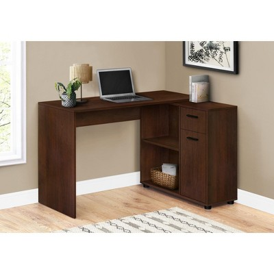 """Monarch Specialties Workstation with Storage Shelves and Cabinet for Home & Office-Contemporary Style L Shaped Computer Desk, 46"""" L"""