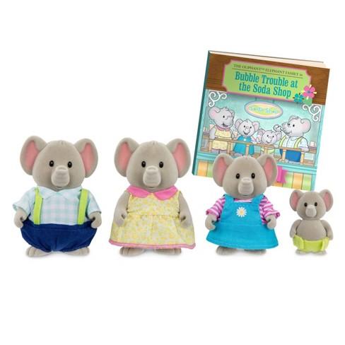 Li'l Woodzeez Miniature Animal Figurine Set - Oliphant Elephant Family - image 1 of 4