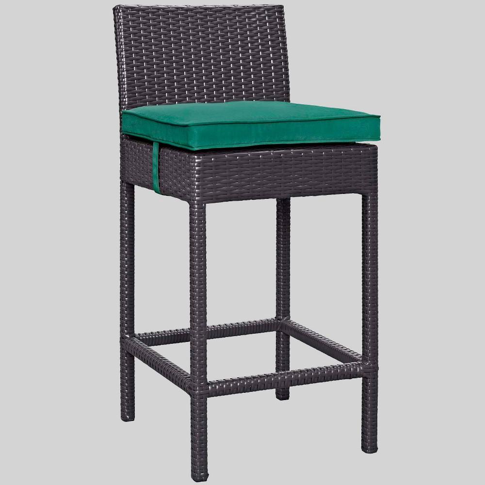 Convene Outdoor Patio Fabric Bar Stool - Green - Modway