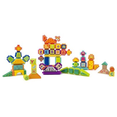 Small Foot Wooden Toys  Safari Theme Wood And Knobs Building Blocks Playset - 150pc