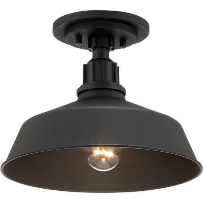 """Franklin Iron Works Rustic Outdoor Ceiling Light Fixture Urban Barn Black Aluminum 12"""" for Exterior House Porch Patio Deck"""