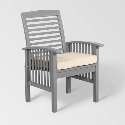 2pc Acacia Wood Patio Chairs with Cushions - Gray Wash - Saracina Home