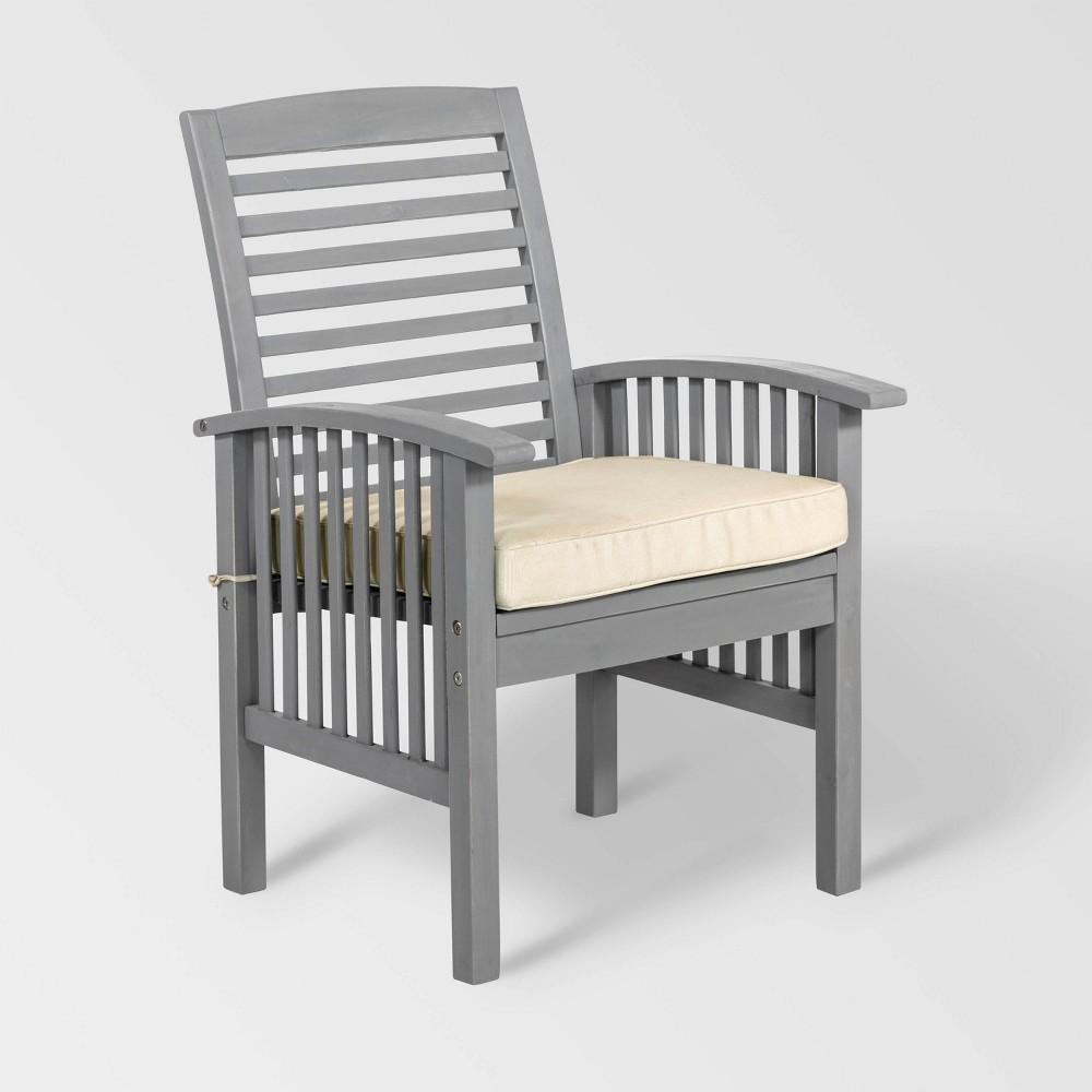 Image of 2pc Acacia Wood Patio Chairs with Cushions - Gray Wash - Saracina Home