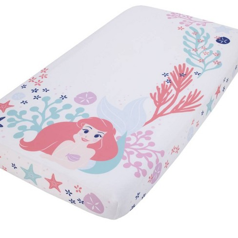 Disney The Little Mermaid Ariel Photo Op Fitted Crib Sheet - Coral/Aqua/White - image 1 of 4