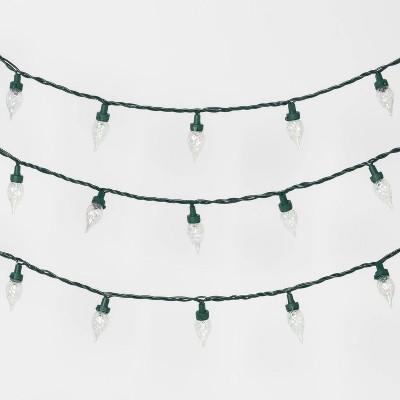 35ct LED Faceted Flame String Lights Clear with Green Wire - Wondershop™