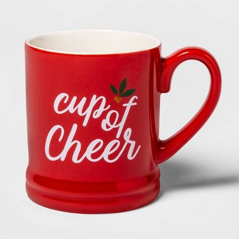 16oz Stoneware Cup of Cheer Mug Red - Threshold™ - image 1 of 1