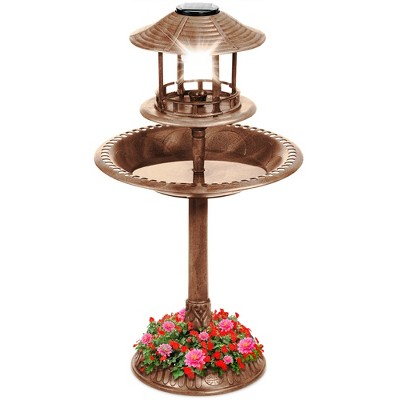 Best Choice Products Solar Outdoor Bird Bath Pedestal Fountain Garden Decoration w/ Fillable Planter Base