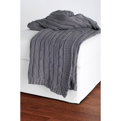 Light Gray Cable Knit Throw - Rizzy Home