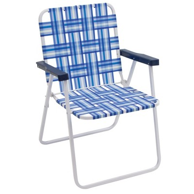 RIO Brands Outdoor Heavy Duty Steel Frame Folding Woven Web Beach Lawn Patio Chair, Blue