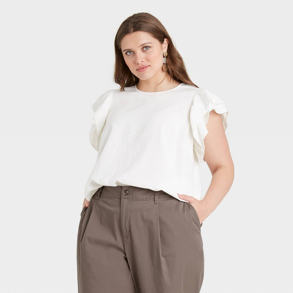 Women 39 S Plus Size Ruffle Short Sleeve Linen Top A New Day 8482 White 4x