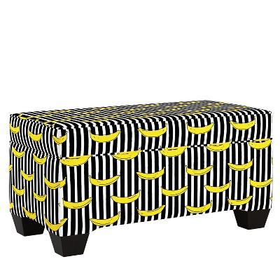Penelope Storage Bench Banana Stripe Black - Skyline Furniture