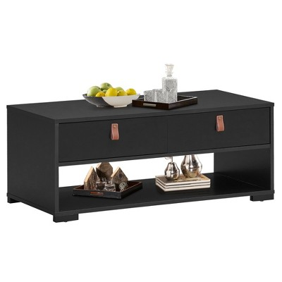 Costway Coffee Table Wood Accent Cocktail Table w/ 2 Drawers &OpenStorage Shelf Walnut\Black