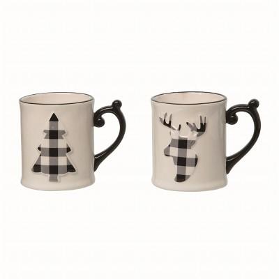 Transpac Ceramic White Christmas Reindeer and Tree Mug Set of 2