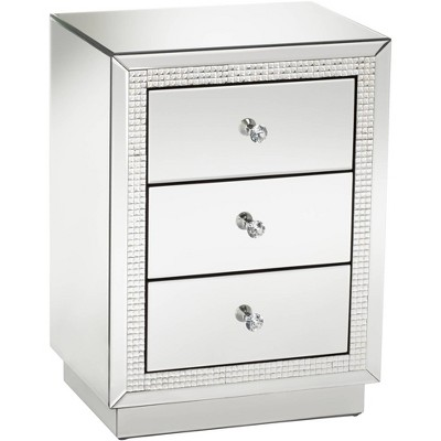"Studio 55D Biscaya 19"" Wide 3-Drawer Beaded Mirrored Side Table"