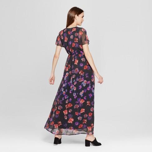 168599f69c85 Women s Floral Print Short Sleeve Maxi Dress - clair Black   Target