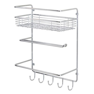 mDesign Metal Wall Mount Paper Towel Holder with Storage Shelf & Hooks - Chrome