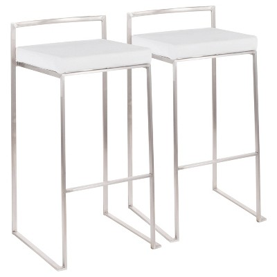 Set of 2 Fuji Contemporary Stackable Barstools - LumiSource