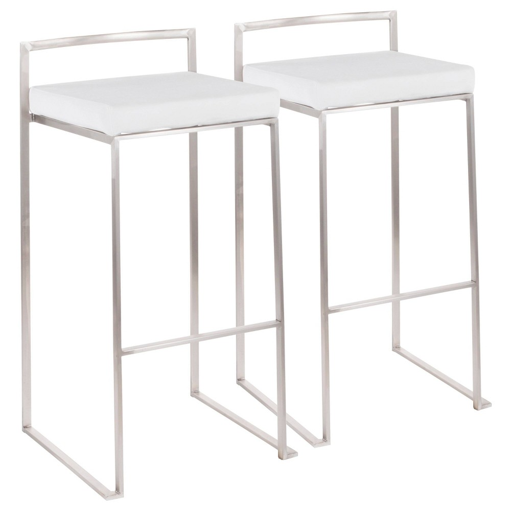 Set Of 2 Fuji Contemporary Stackable Barstools White Lumisource