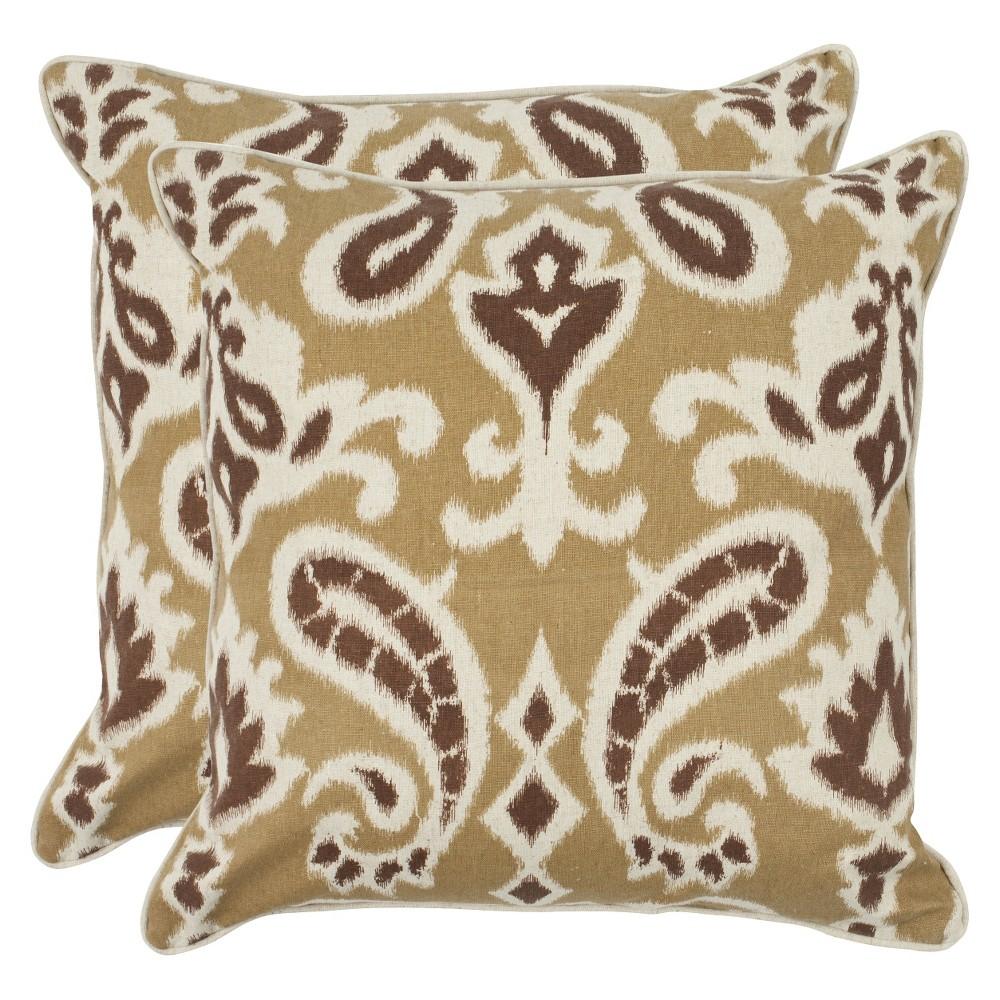 2pk Brown Paisley Throw Pillow 18