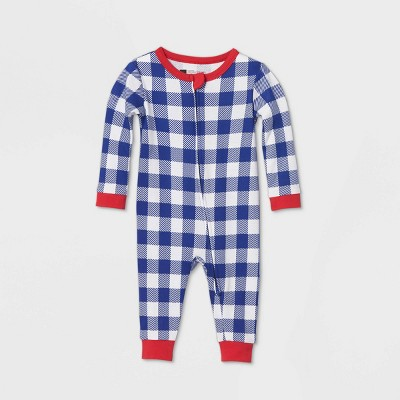 Baby July 4th Gingham Union Suit - Navy 3-6M
