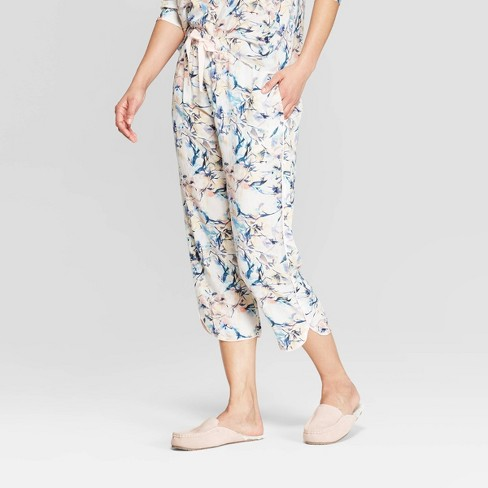 Women s Floral Print Simply Cool Crop Pajama Pants - Stars Above™ White 83cde4686