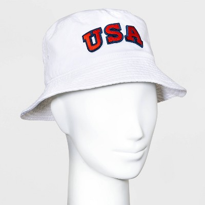 Mighty Fine Adult USA Bucket Cap - White