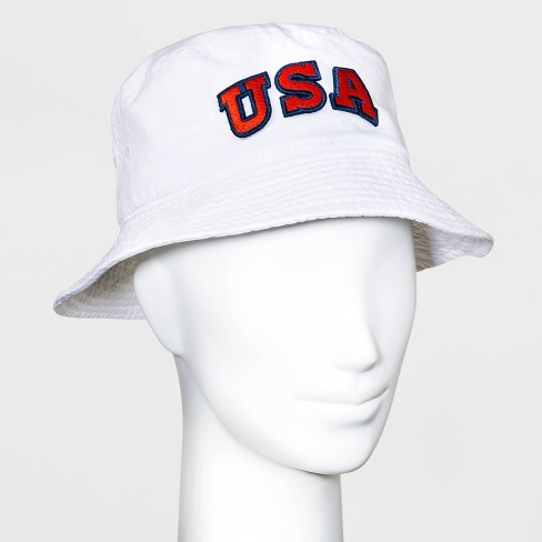 Mighty Fine Adult USA Bucket Cap - White - image 1 of 1