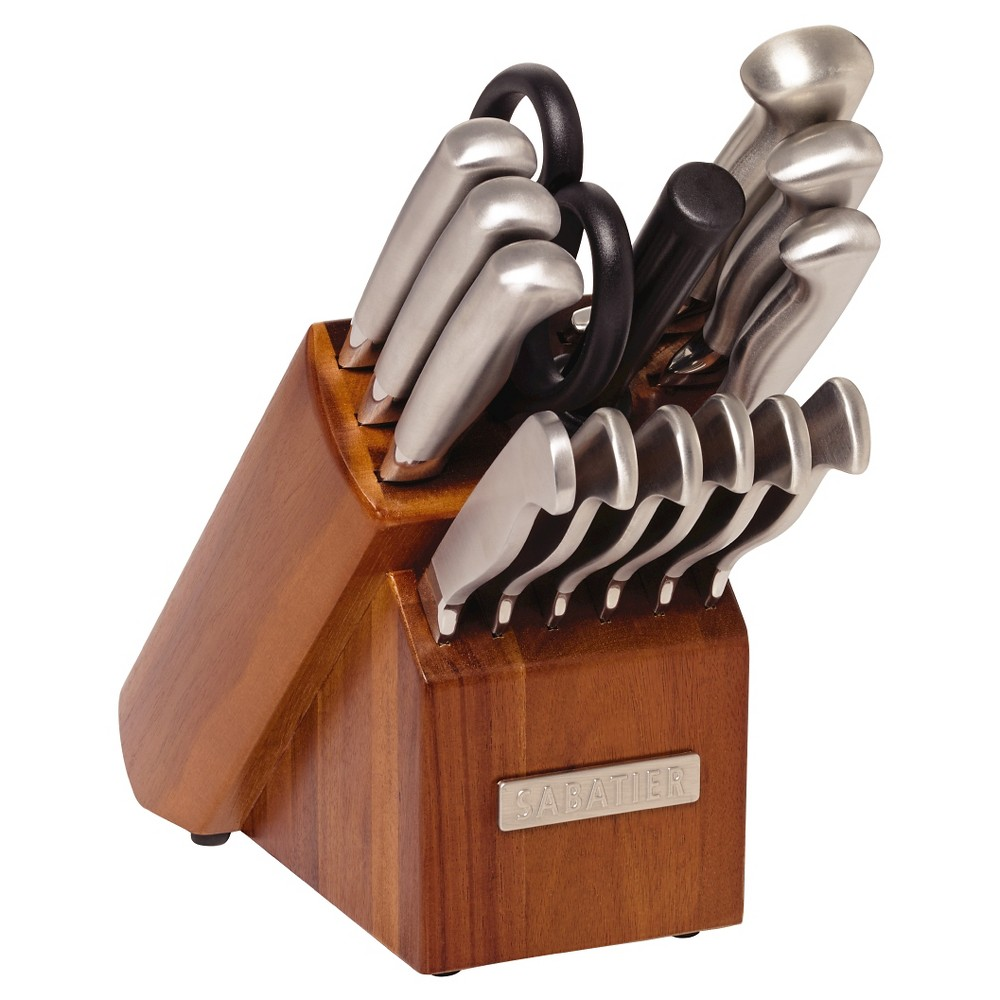 Image of Sabatier 15 Piece Stainless Steel Hollow Handle Traditional Knife Block Set, White Silver Black