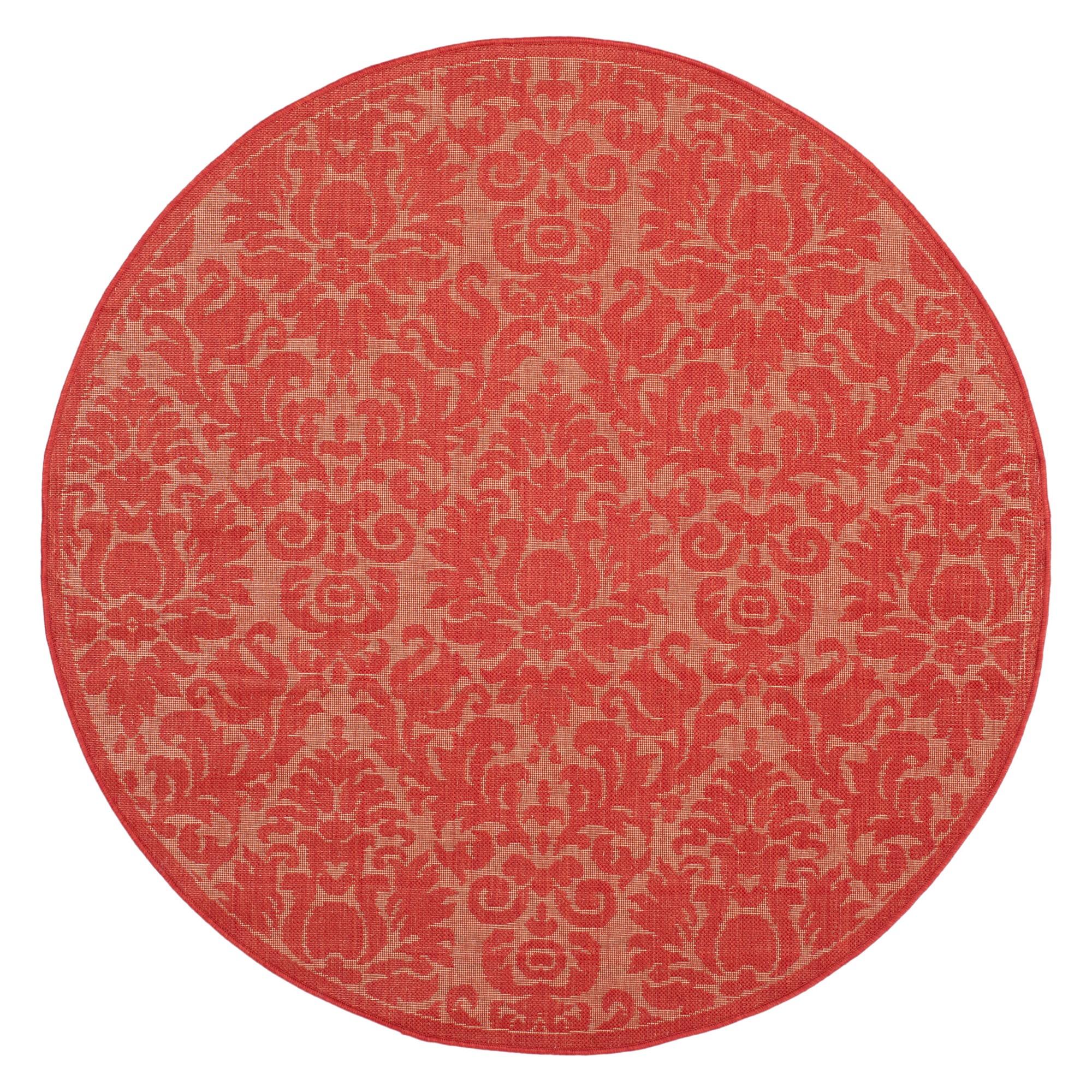 '6'7'' Round Dorchester Damask Outdoor Rug Red - Safavieh'