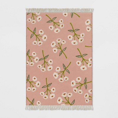 5' x 7' Floral Fringed Outdoor Rug Blush - Opalhouse™