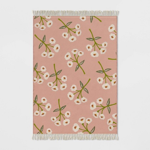 Floral Fringed Outdoor Rug Blush - Opalhouse™ - image 1 of 2