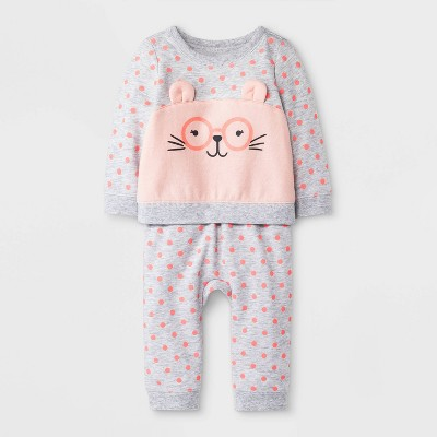 Baby Girls' 2pc Polka Dots Critter Pullover Top and Jogger Pants Set - Cat & Jack™ Gray 6-9M