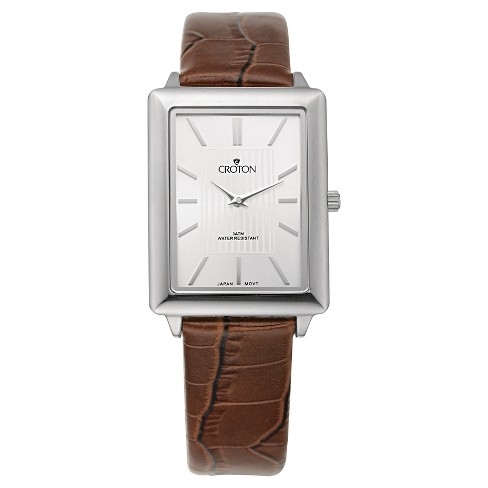 Men's Croton Stainless Steel Watch with Brown Leather Band - image 1 of 3