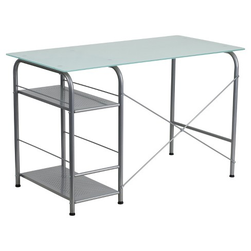 Glass Computer Desk With Open Storage Silk White Top Silver Frame Riverstone Furniture Collection Target