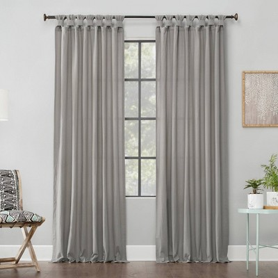 "84""x52"" Washed Cotton Twisted Tab Light Filtering Curtain Panel Silver Gray - Archaeo"