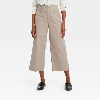 Women's Cropped Wide Leg Fashion Pants - A New Day™