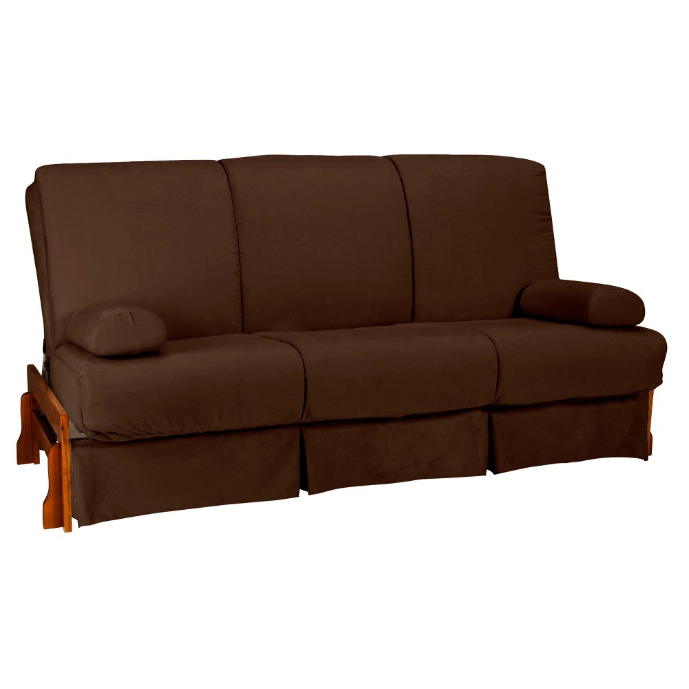 Low Arm Perfect Futon Sofa Sleeper Walnut Wood Finish Espresso Brown - Epic Furnishings