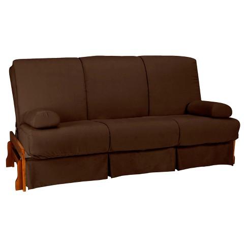 Low Arm Perfect Futon Sofa Sleeper Walnut Wood Finish