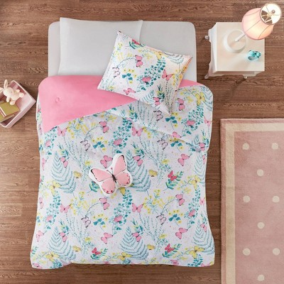 Amelia Printed Butterfly Comforter Set Pink