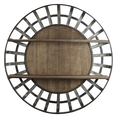 "35.5"" Decorative Round Wood And Metal Wall Shelf Brown - E2 Concepts"