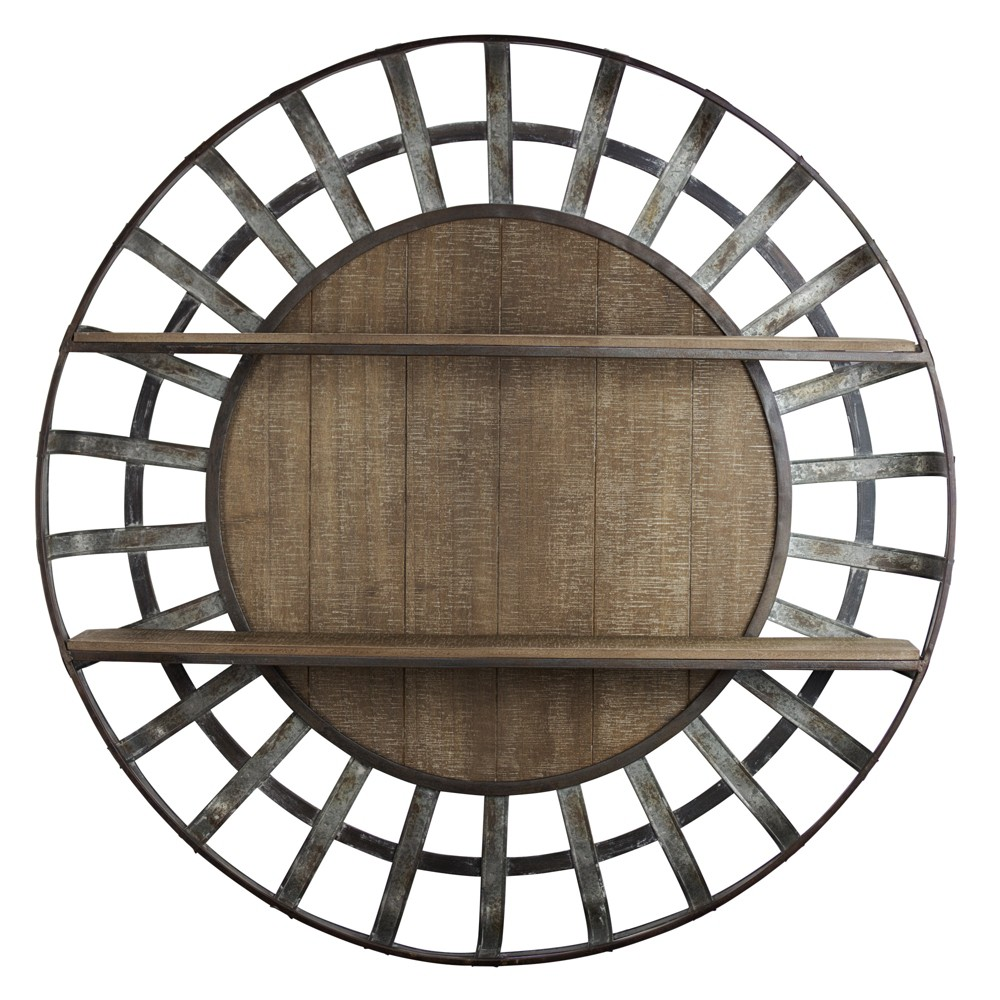"""Image of """"35.5"""""""" Decorative Round Wood And Metal Wall Shelf Brown - E2 Concepts"""""""