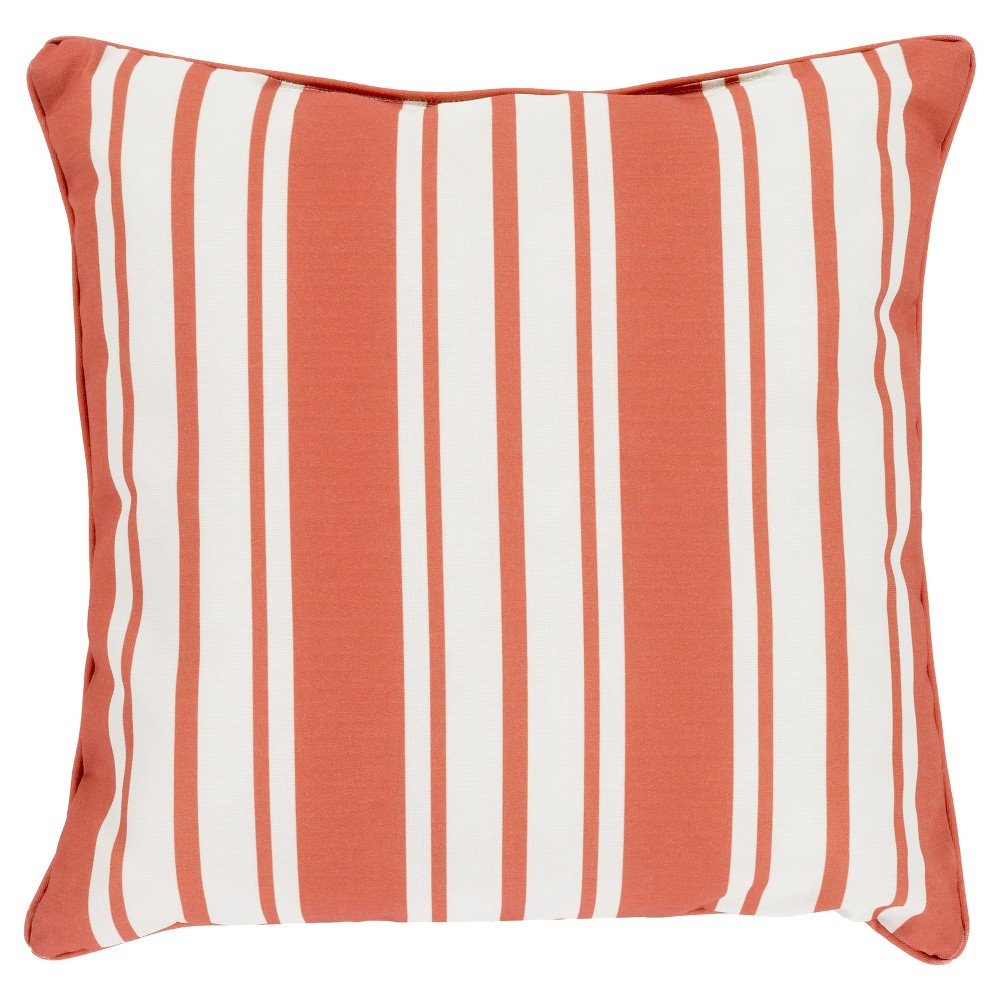 Rust (Red) Geraldton Striped Throw Pillow 20
