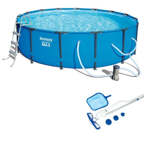 Bestway 15ft x 42in Steel Pro Max Round Frame Above Ground Pool and  Accessories