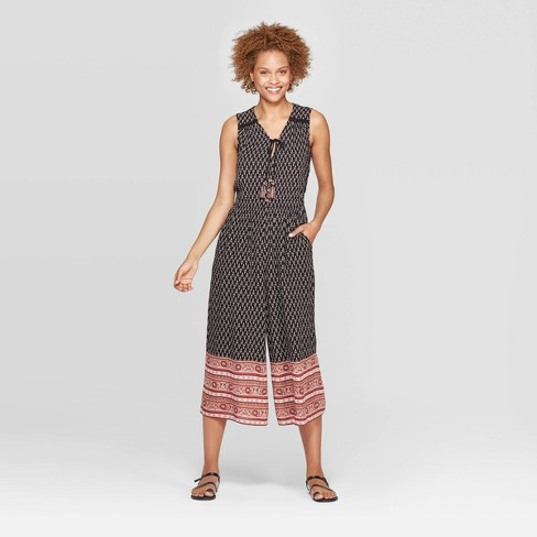 Women's Printed Sleeveless V-Neck Front Button-Down Jumpsuit - Knox Rose™ Black - image 1 of 2
