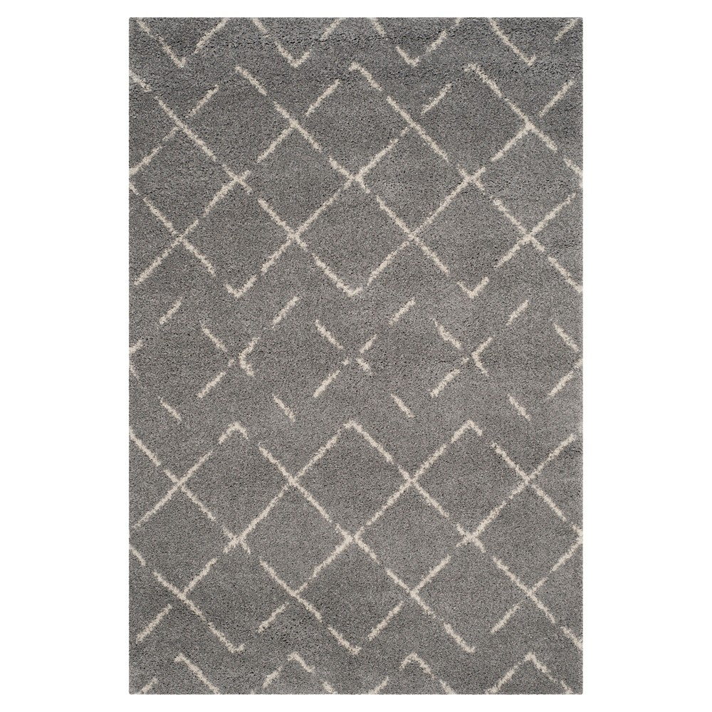 Gray/Ivory Abstract Loomed Area Rug - (5'1