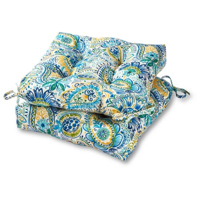 Set of 2 Painted Paisley Outdoor Seat Cushions - Kensington Garden