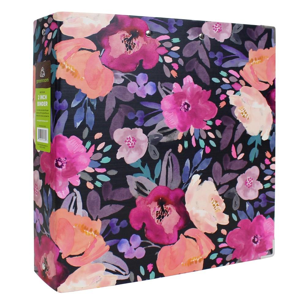 """Image of """"2"""""""" 3 Ring Binder Floral Black - greenroom"""""""