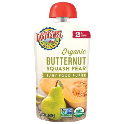 Earth's Best Organic Stage 2 Butternut Squash Pear Baby Food - (Select Count)