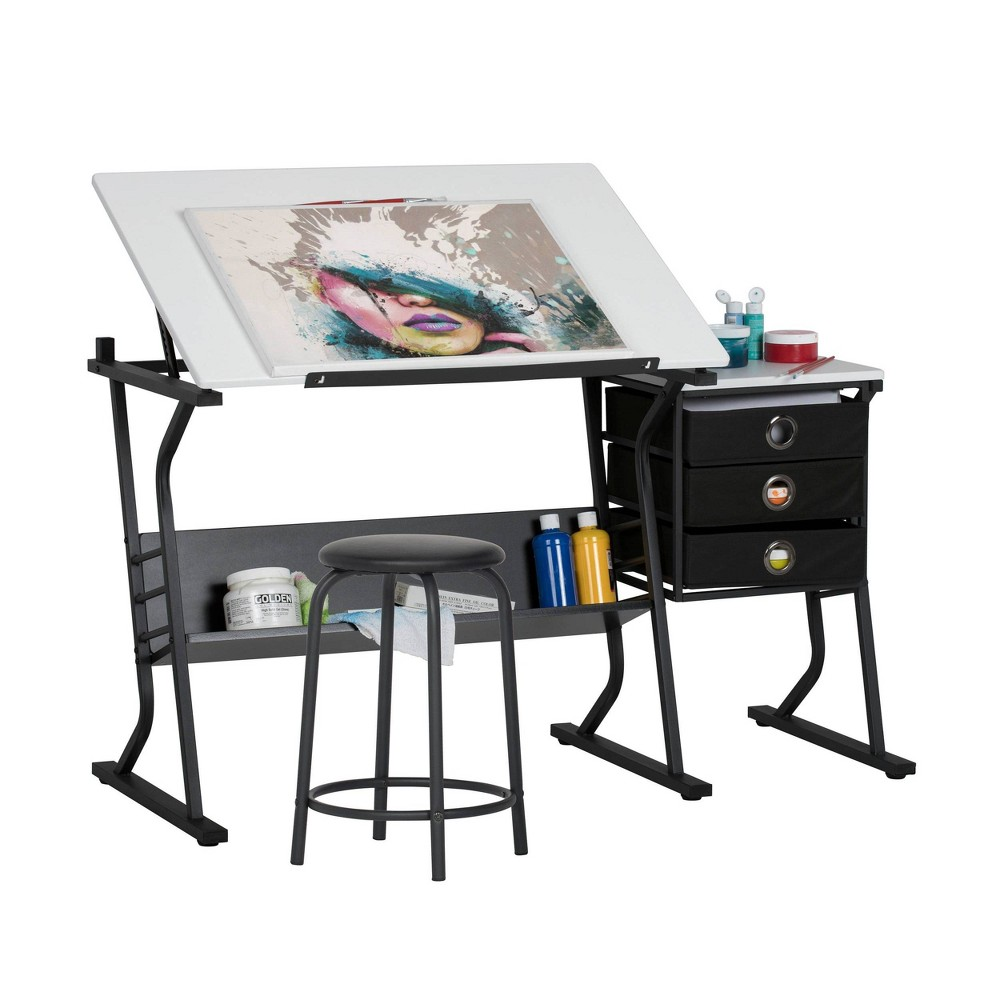 Eclipse Hobby Table with Stool Black